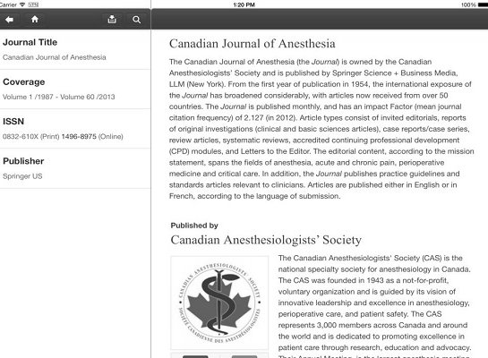 Canadian Journal of Anesthesia